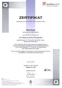 SCC-Zertifikate Rade Dragic