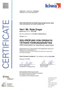 SGU-Zertifikate Rade Dragic